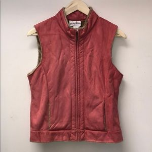 Pendleton Pink Suede Sherpa Lined Vest, Size Small